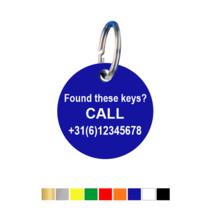 Sleutellabels met telefoonnummer
