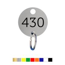 Sleutellabels rond met nummer en ophanggat