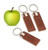 CombiCraft Veganistische  sleutelhangers in 90x30mm met jouw tekst of logo ingebrand. Apple tags, sleutellabels van appelschillen, pitten en kurk.