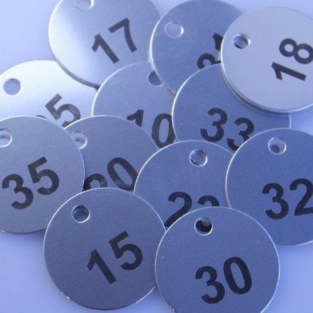 CombiCraft Genummerde Aluminium Sleutellabels of Sleutelhangers 100% Elox Rond met gravering