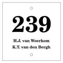 Huisnummer bordje met 2 tekstregels Type 1