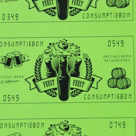 CombiCraft 500 Consumptiebonnen in de vorm van bankbiljetten van de Bacchusbank in het formaat 105 x 54,6mm, los gesneden.