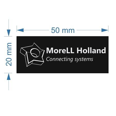 CombiCraft MoreLL Holland Acrylaat zwart logoplaatje met tape in 50x20mm met rechte hoeken.
