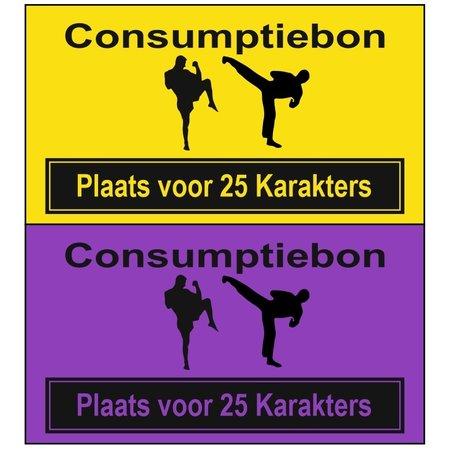 CombiCraft 1000 Consumptiebonnen Kickboxen in 50x27½mm, met een eigen tekst van 25 karakters inclusief spaties. 10 consumptiebonnen per strip.