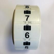Garderobe stickers Koffer 1 t/m  500
