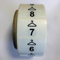 Garderobe stickers Kleerhanger 1 t/m  500