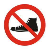 Verboden met schoenen bordje