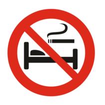 Verboden te roken in bed bordje