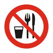 Verboden te eten en drinken bordje