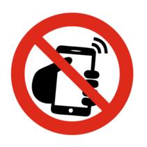 Verboden voor mobiele telefoons bordje