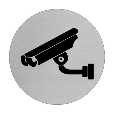 CombiCraft Camera aanwezig  Aluminium pictogram bordje om aan te geven dat er camera's hangen, Ø75mm met tape.
