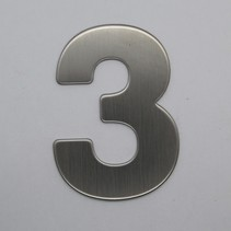 RVS 3D Nummer 3 zonder bevestiging