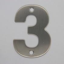 RVS 3D Nummer 3 met boorgaten