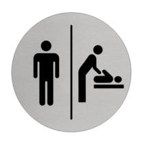 Mannen & Baby verzorgingsruimte bordje Aluminium