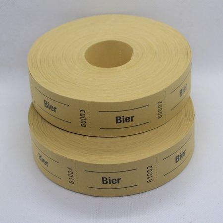 CombiCraft Bier bonnen - Bierbonnen op een rol, Consumptiebon op rol  voor bier in  57x30 mm. Per rol van 1000 bonnen te bestellen.