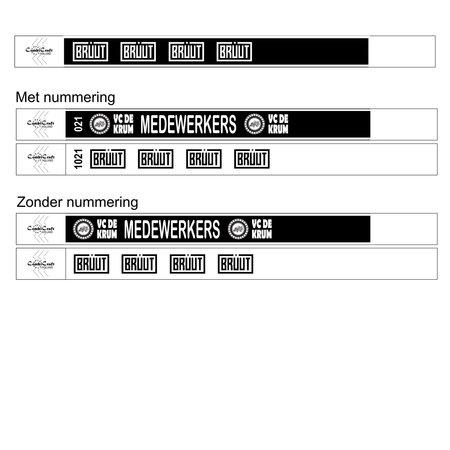 CombiCraft Budget polsbandjes zwart-wit bedrukt met jouw ontwerp per 100 stuks