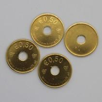 Messing of Staal vermessingde  €0,50 munt formaat