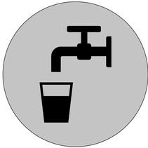 Drinkwater bordje Ø75mm met tape