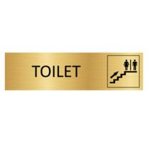 Goudkleurig Deurbordje Toiletten boven