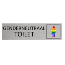 Aluminium Deurbordje Toilet genderneutraal Regenboog