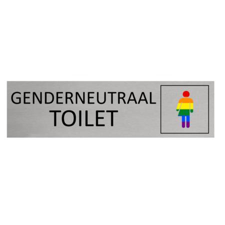 CombiCraft Aluminium Deurbordje Toilet met genderneutraal symbool met regenboogkleuren 165x45mm met tape - Copy