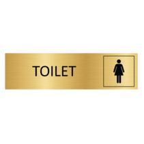 Goudkleurig Deurbordje Toilet met vrouw symbool