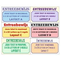 Entreebewijs met tekst op 3 regels