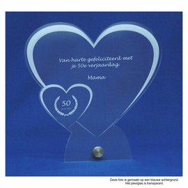 Plexiglas met RVS houder, hart met klein hart, recht, 20x20cm
