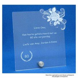 Plexiglas met RVS houder en roos, 16,5x18,0cm