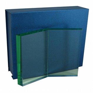 Glazen trofee in de vorm van een boek, 197x150x19mm, incl. geschenkdoos