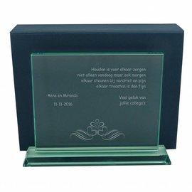 Zware rechthoekige glazen award, 290x225mm