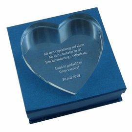 Glazen hart, liggend ca. 150x150mm