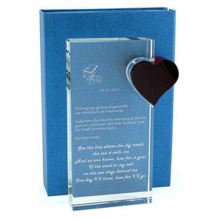 Zware glazen staander met hart 110x220x25mm, hart:65x60x25mm