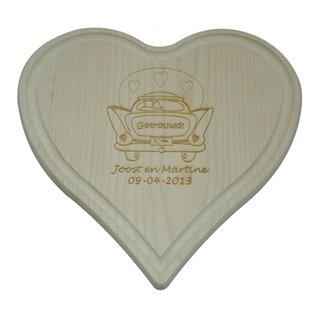 Houten hart met groef, 24x24x1,4cm