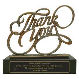 Award van gegoten metaal graveren Thank you/bedanken 200x80x195mm