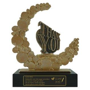 Gegraveerde award van metaal met Thank you/Dank je wel 235x80x280mm