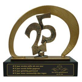 Graveren gegoten metalen award met 25; 210x80x205mm