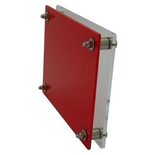 Transparant/rood plexiglas 200x200mm
