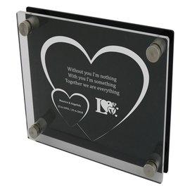 Transparant/zwart plexiglas 200x200mm