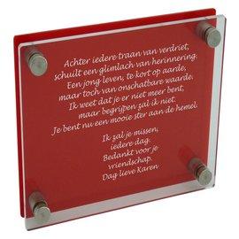 Transparant/rood plexiglas 300x300mm