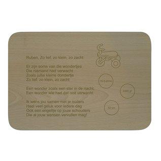 Houten bord, rechthoekig 31x21,5x1,6cm
