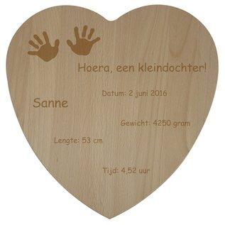 Houten hart van beuken, 30x30x1,4cm