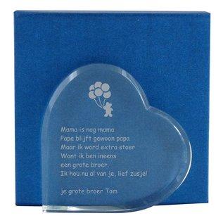 Glazen hart, 140x140x23mm