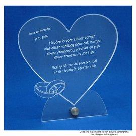 Plexiglas met RVS houder, hart met 2 ringen, 20x20cm