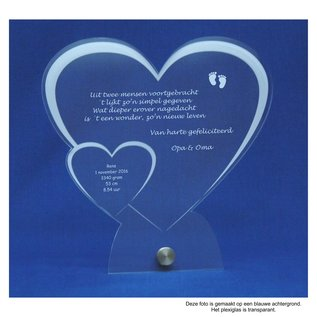 Plexiglas met RVS houder, hart met klein hart, recht 20x20x0,5cm