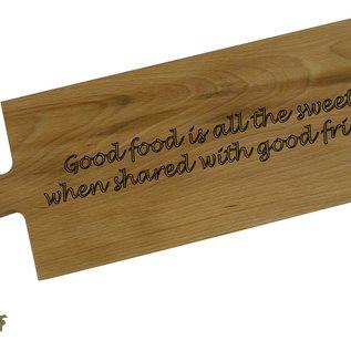 Mooie lange snijplank van beuken met handvat, 59x20x1,9cm