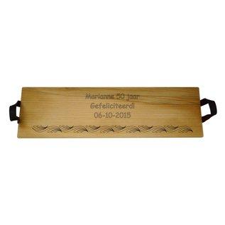 Serveerplank van beuken met lederen handvaten, 69x19,5cm