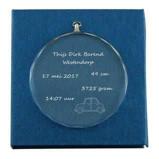Glazen medaille/medaillon, 8cm rond, 1cm dik