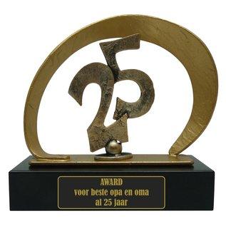 Graveren gegoten metalen award met 25; 210x80x205mm