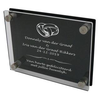 Plexiglas met gravure transparant/zwart 200x150mm of 150x200mm